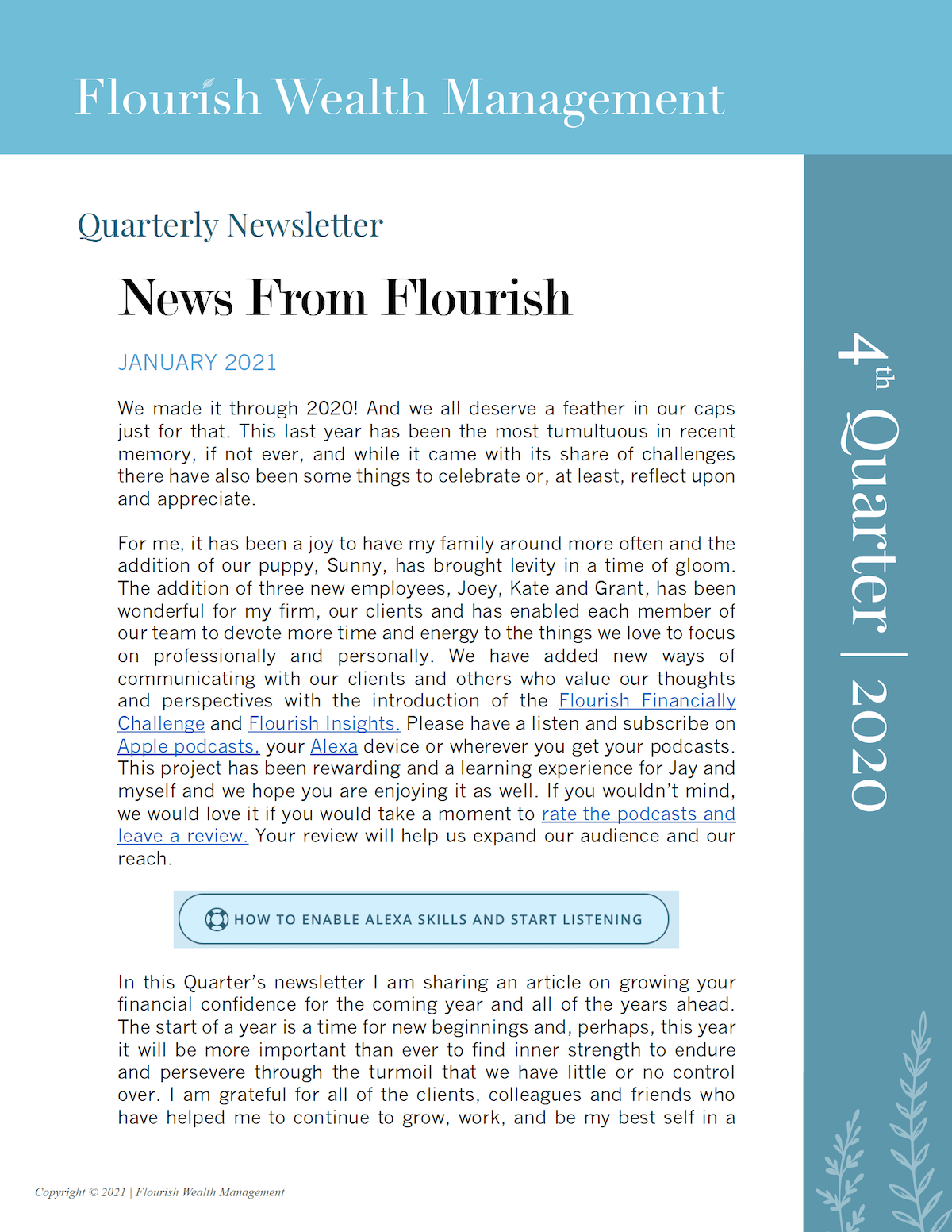 Q4 2020 Quarterly Newsletter