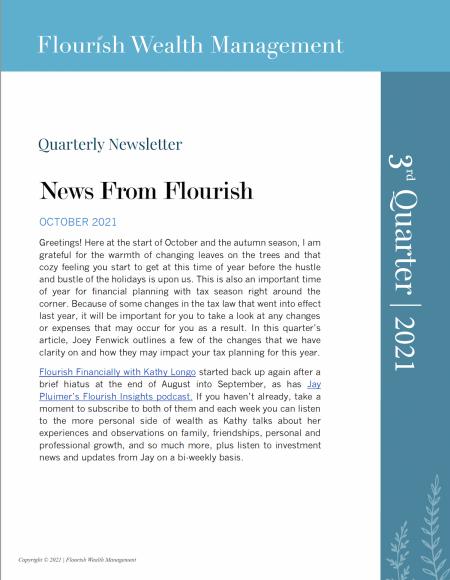 Q3 2021 Quarterly Newsletter