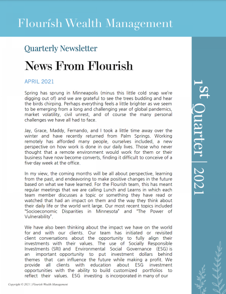Q1 2021 Quarterly Newsletter